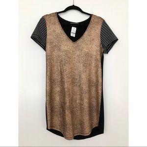 NWT • Indikah Gold Short Sleeve V-Neck Mini Dress